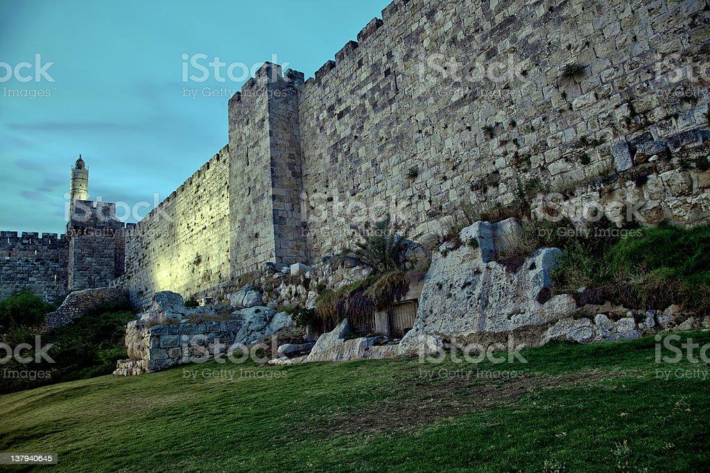 Tower of David and Old Jerusalem City Wall at Dusk royalty-free stock photo