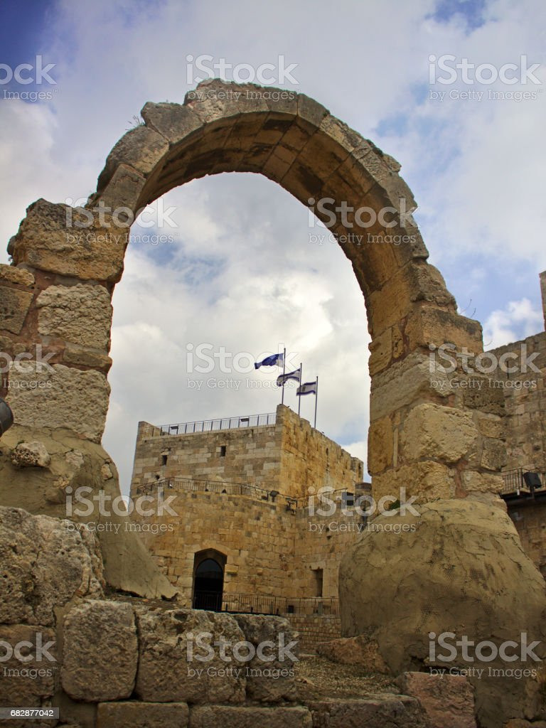 Tower of David arch with flag of Israel stock photo