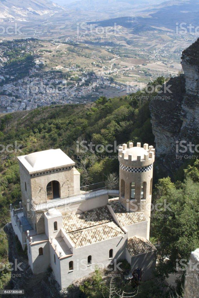 Tower of Erice (Torretta Pepoli), Erice, Sicily, Italy stock photo