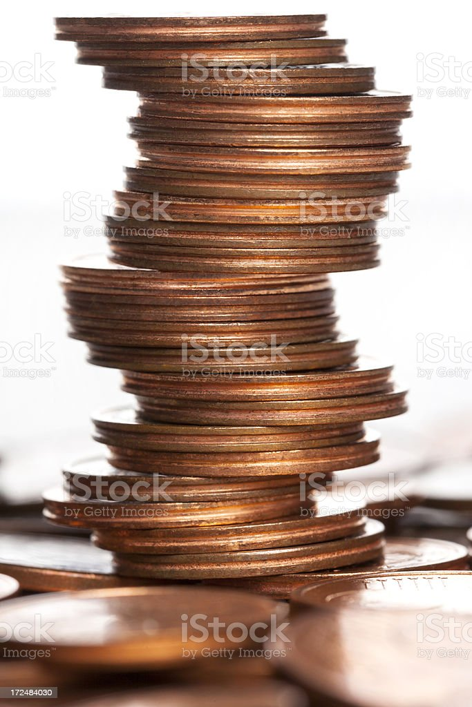 Tower of Euro Cents stock photo