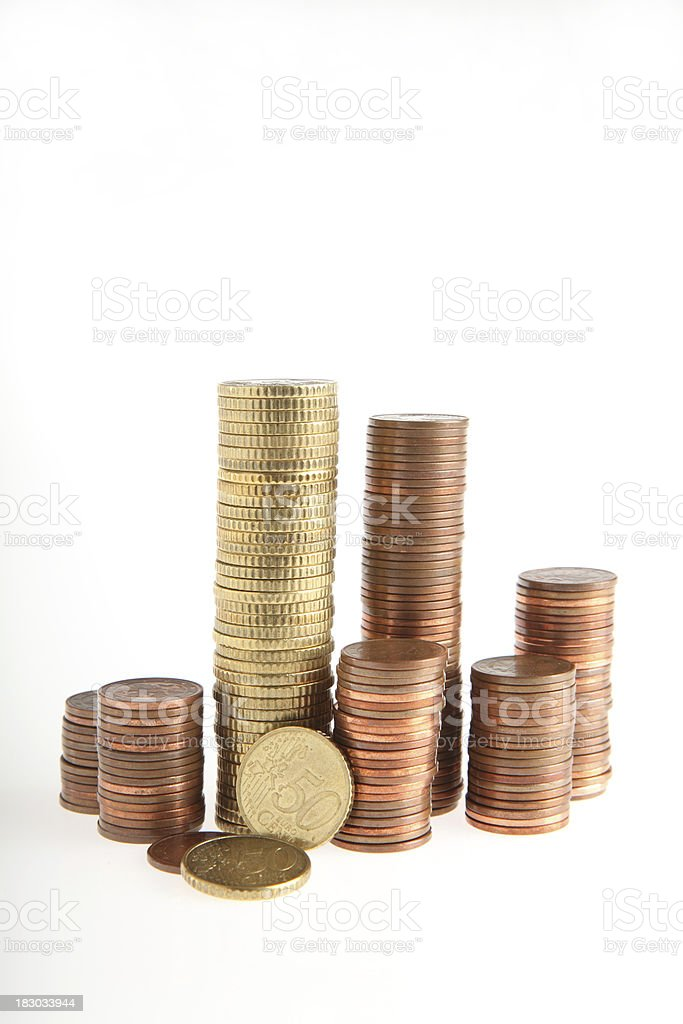 Tower of eurocents stock photo
