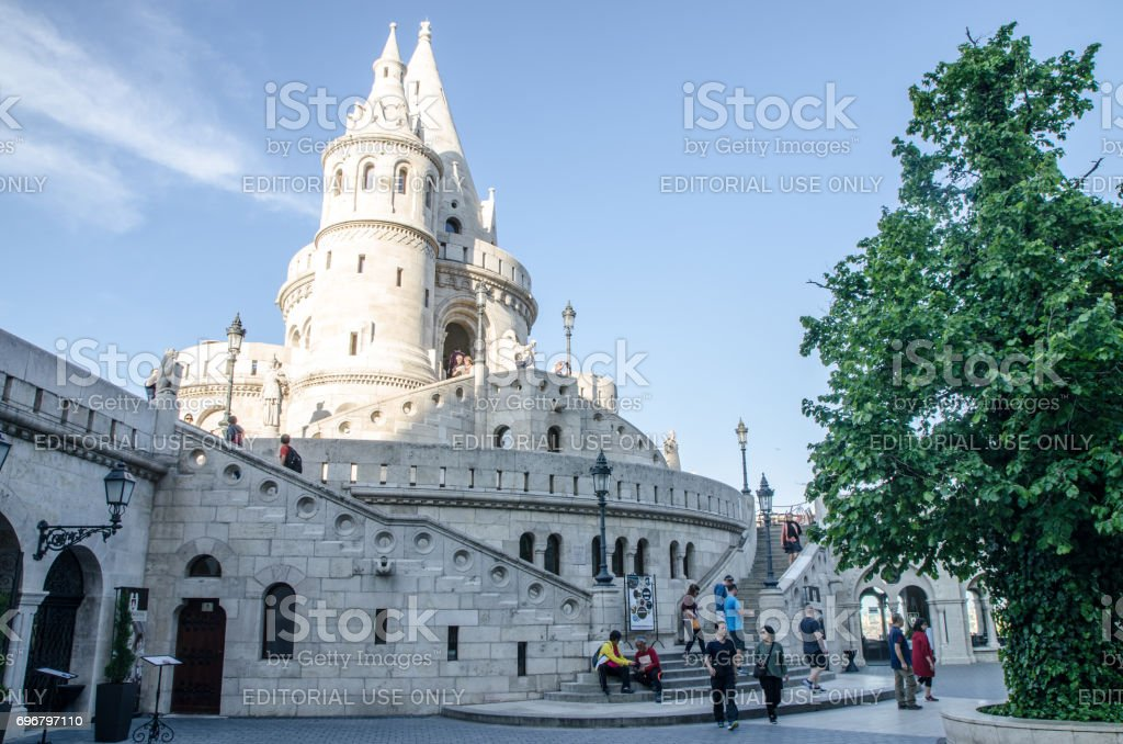 Tower of Fishermen's Bastion in Budapest stock photo