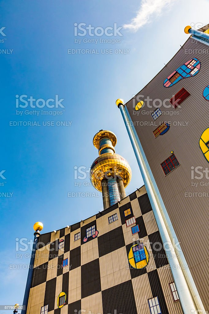 Tower of Garbage-processing plant in Vienna stock photo