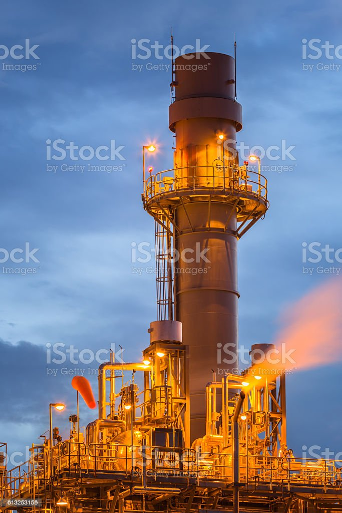 Tower of gas turbine electric power plant stock photo