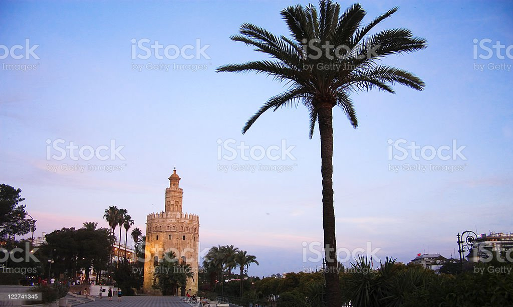 Tower of gold. Sunset in sevilla. stock photo