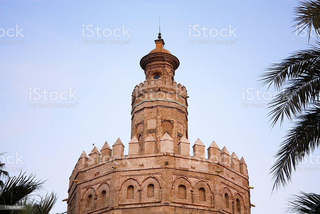 Tower of gold. Sunset in sevilla. royalty-free stock photo