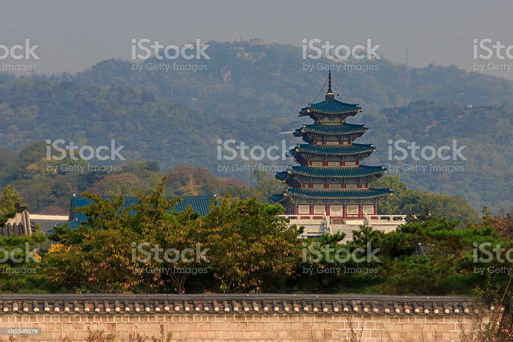 Tower of Gyeongbok Palace stock photo
