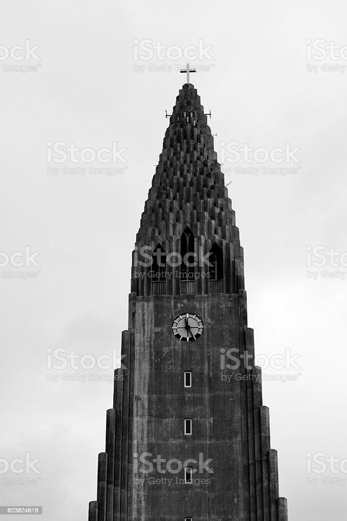 Tower of Hallgrimskirkja Church in Iceland stock photo
