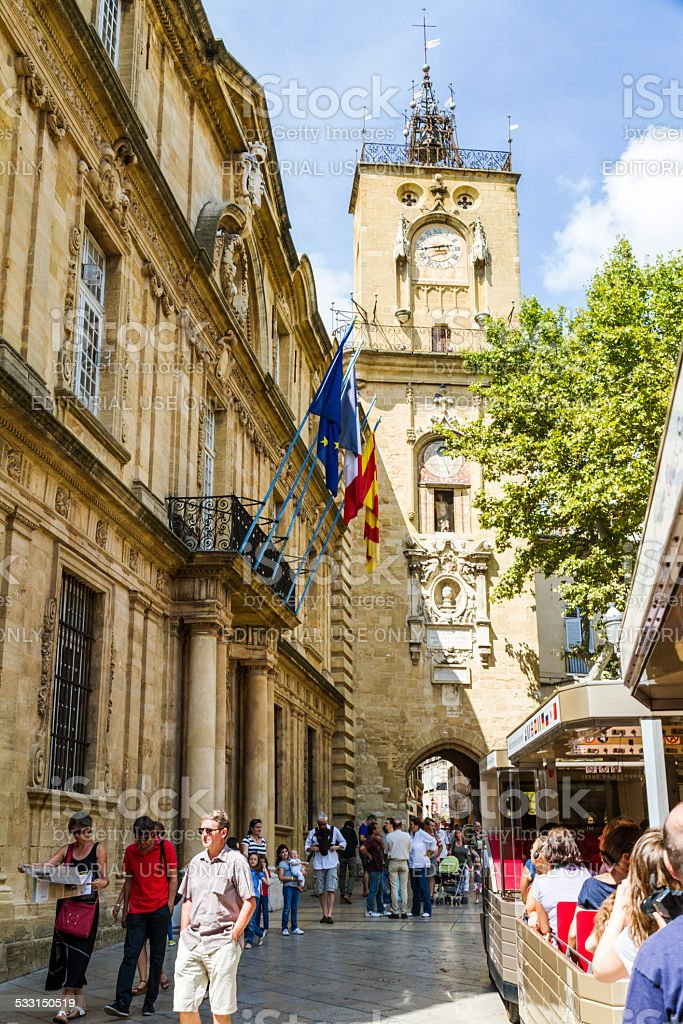 Tower of Hotel de Ville in Aix en Provence stock photo