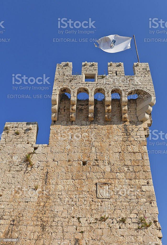 Tower of Kamerlengo castle (1437). Trogir, Croatia stock photo