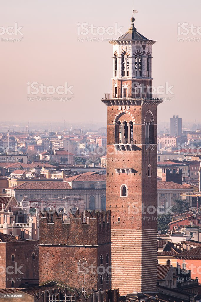 Tower of Lamberti, a medieval and renaissance tower in Verona. stock photo