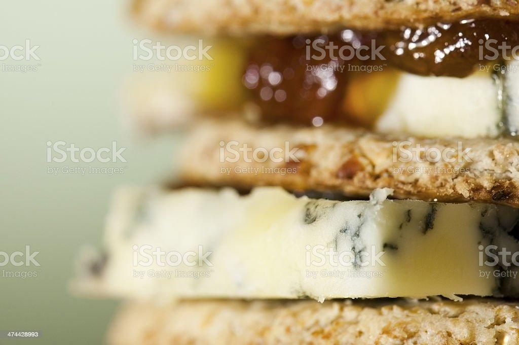 Tower of layered oatcakes, stilton and chutney stock photo