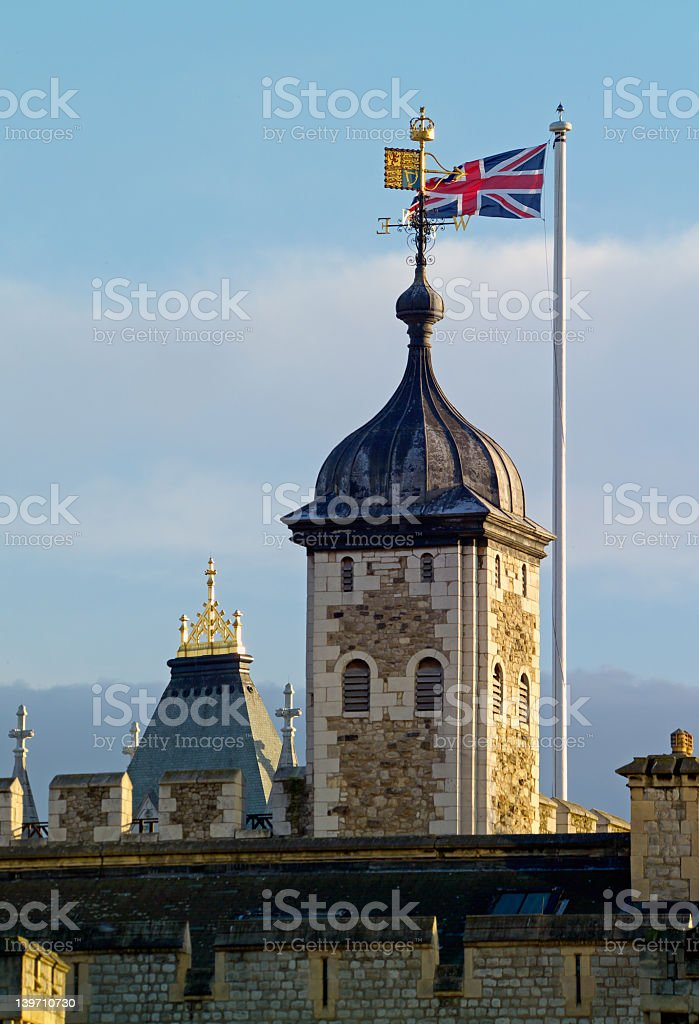 Tower of London against blue sky stock photo