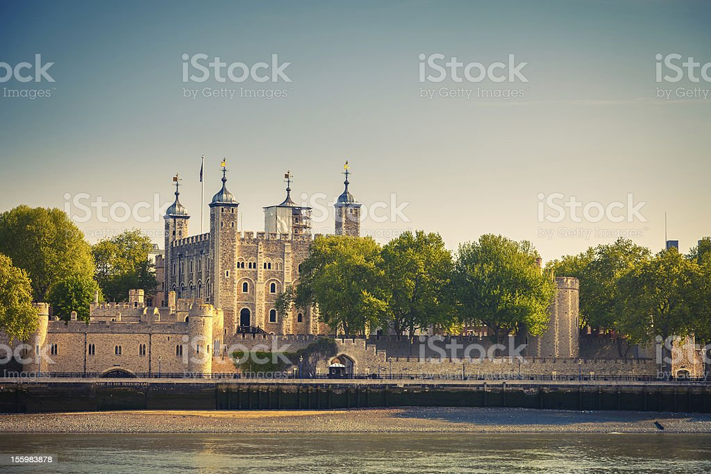 Tower of London along the north shore of the River Thames stock photo
