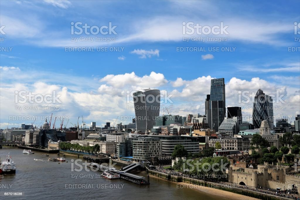 Tower of London and Skyscrapers in financial district London view from Tower Bridge, UK stock photo