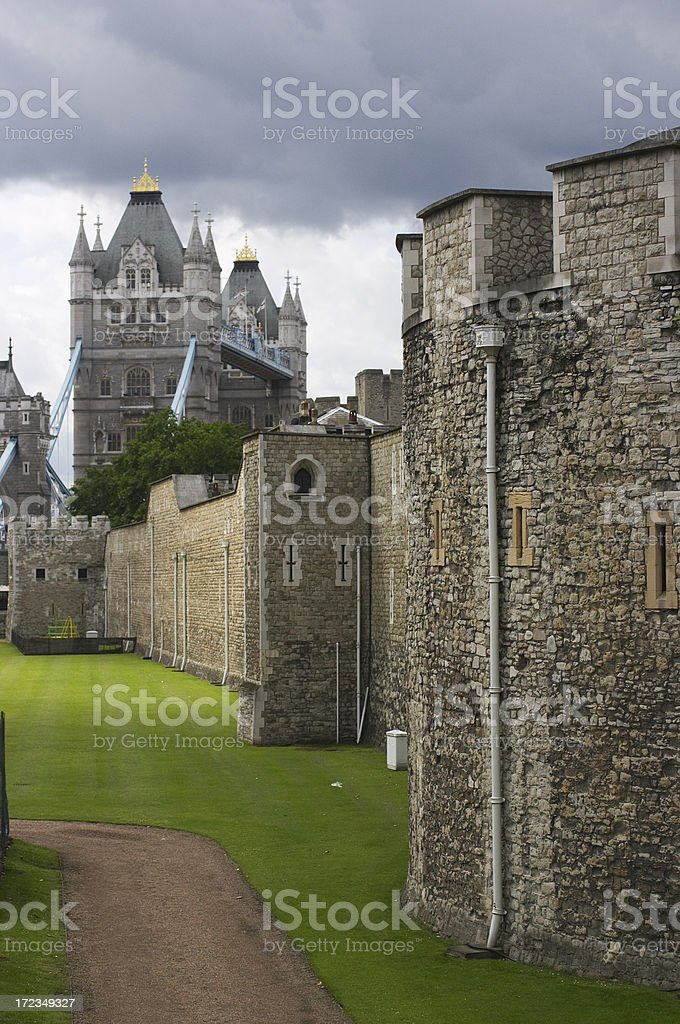 Stormy view of Tower Bridge royalty-free stock photo