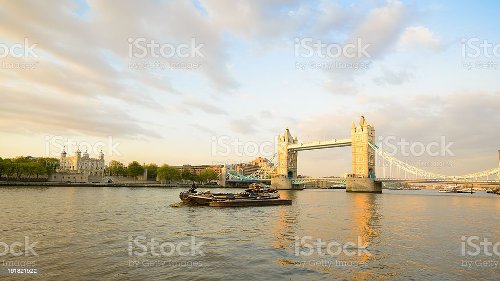 Tower of London Bridge at Sunset, Reflecting on River Thames royalty-free stock photo