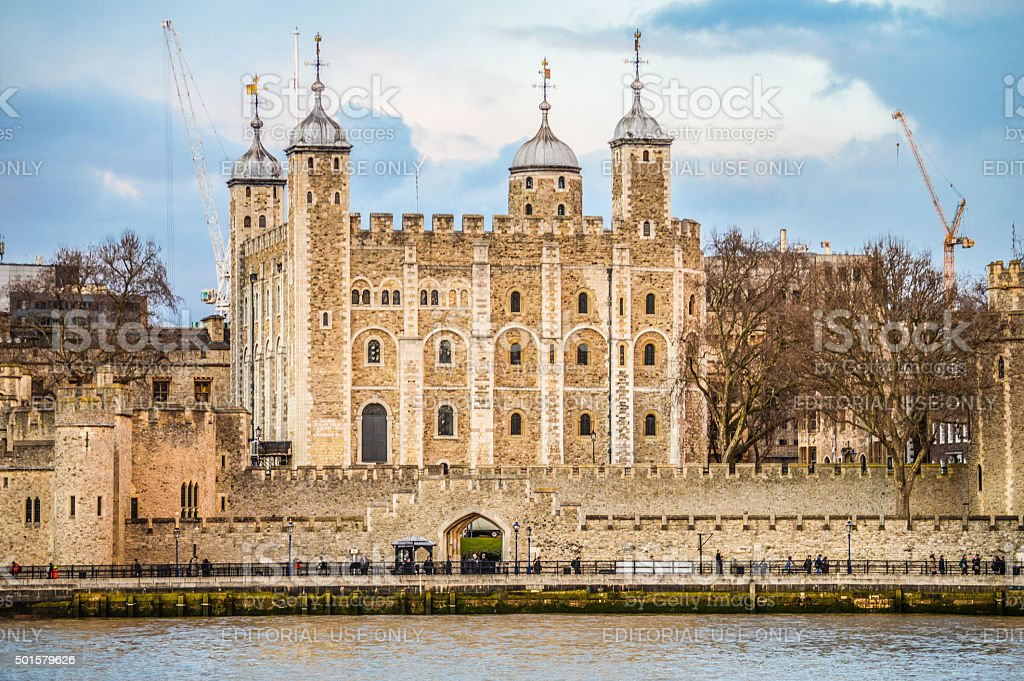 Tower of London from across the Thames River stock photo