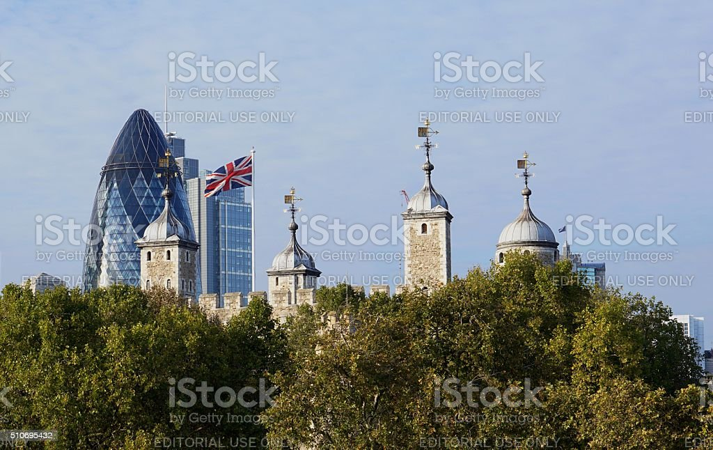 Tower of London, Gherkin, Union Jack stock photo