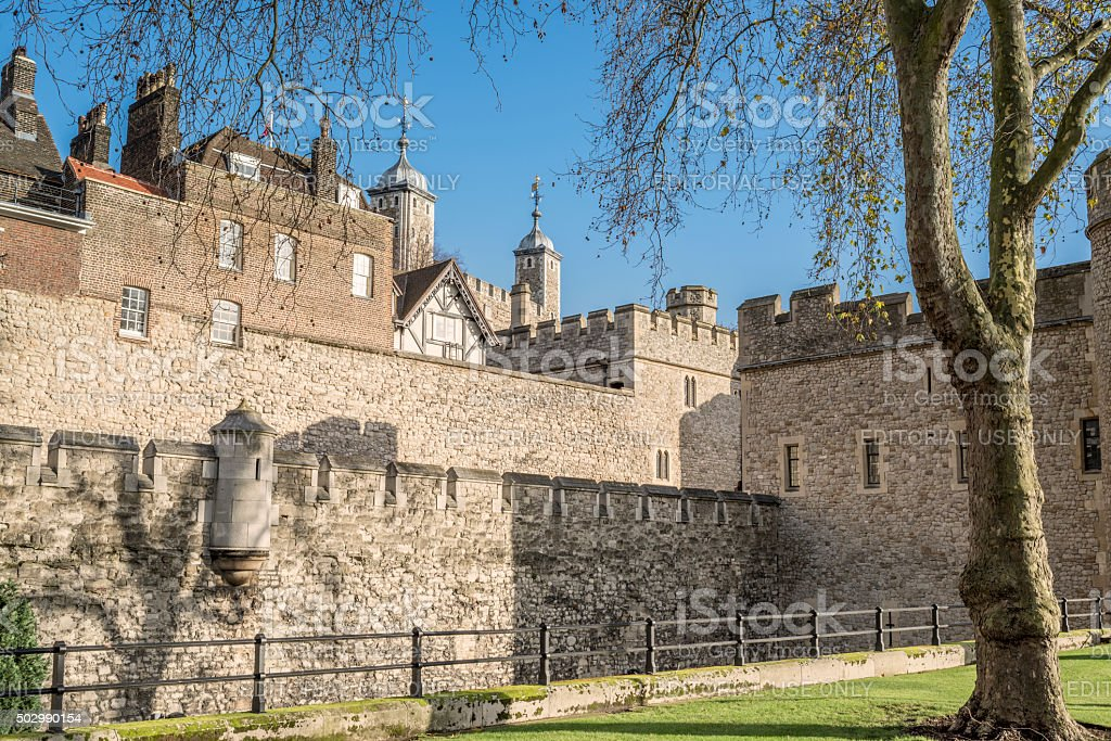 Tower of London in golden sunlight on a winter morning stock photo