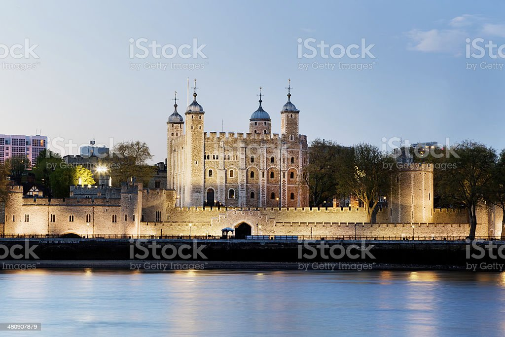Tower of London. Royal Palace and Fortress at the evening stock photo
