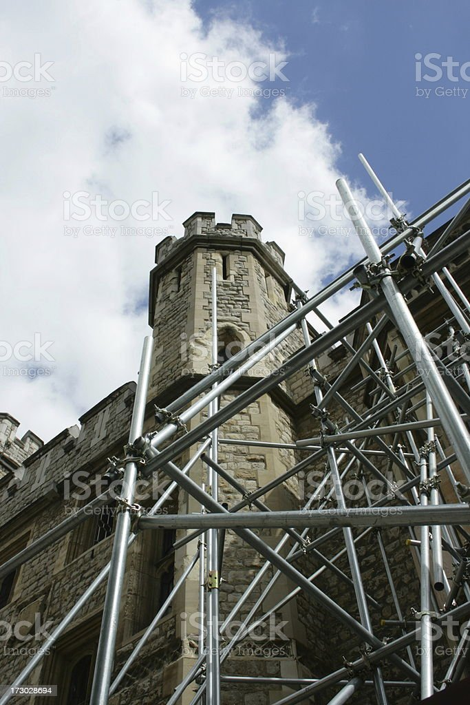 Tower of London with scaffold stock photo
