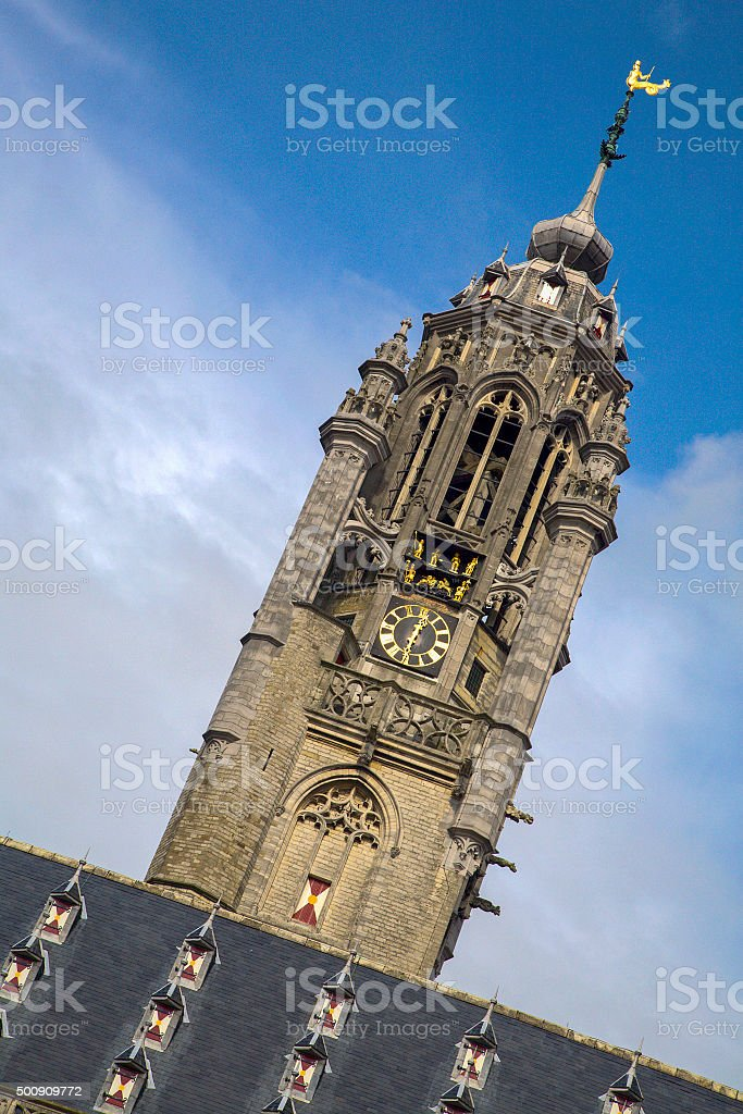 Tower of medieval townhall of Dutch city Middelburg stock photo