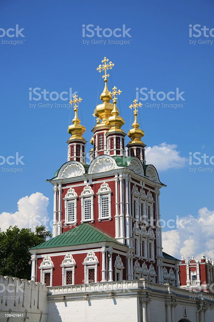 Tower of Novodevichy Convent in Moscow, Russia stock photo