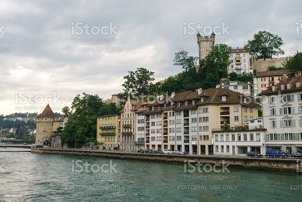 Tower of old city wall a stock photo