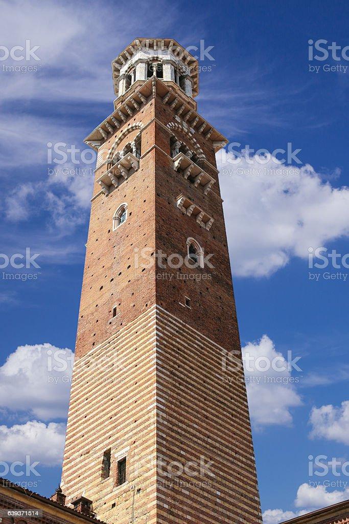 Tower of Palazzo della Ragione, Piazza dei Signori, Verona, Italy. stock photo