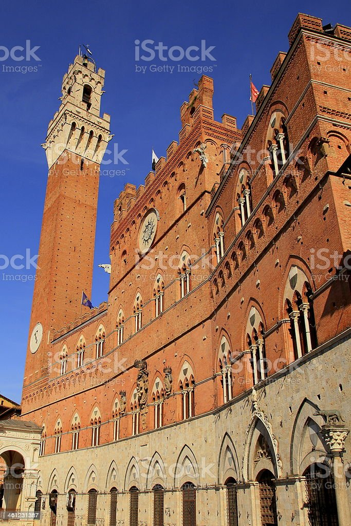 Tower of Palazzo Pubblico - Torre Del Mangia, Siena - Tuscany stock photo