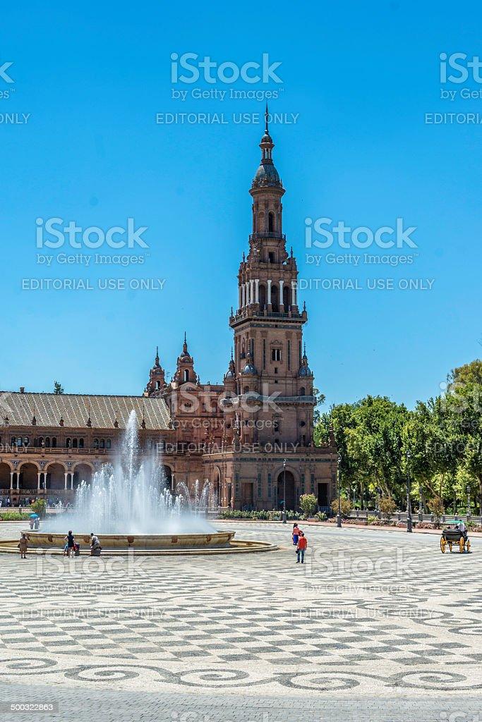 Tower of Plaza España royalty-free stock photo