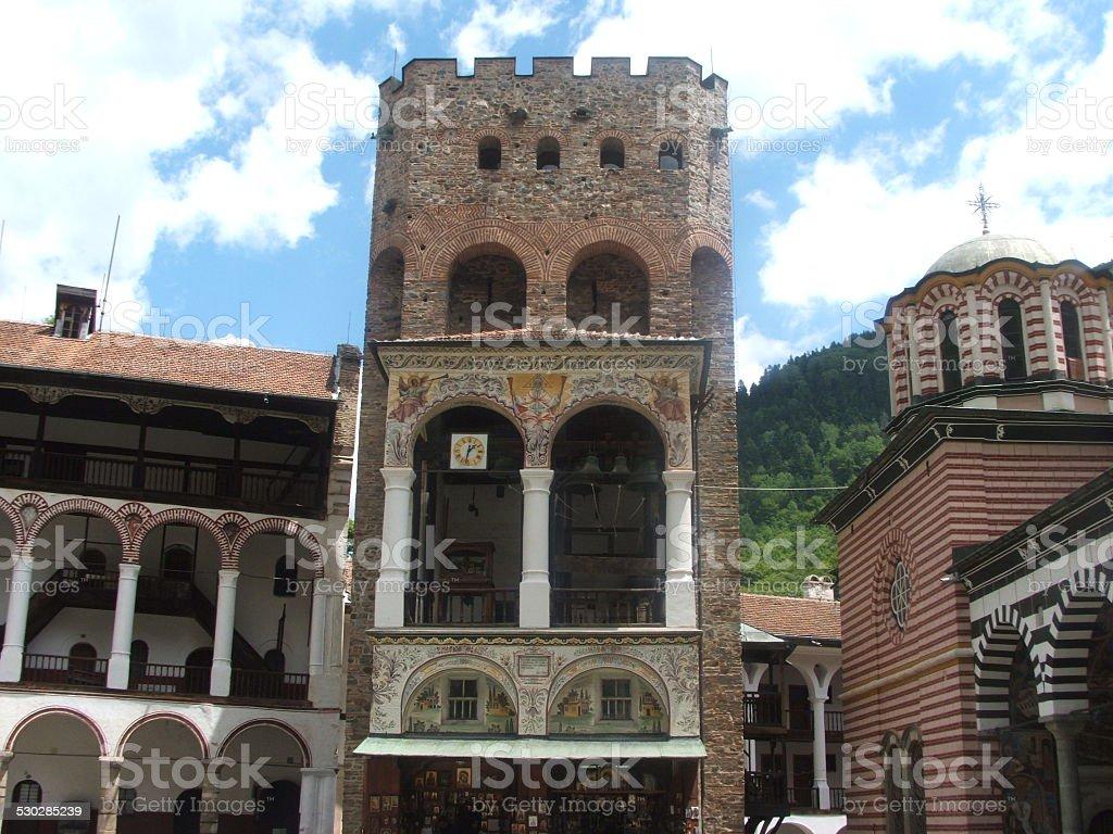 Tower of Rila Monastery, Bulgaria stock photo