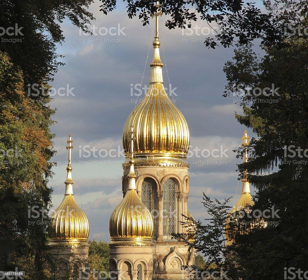 Tower of Russian Orthodox Church stock photo