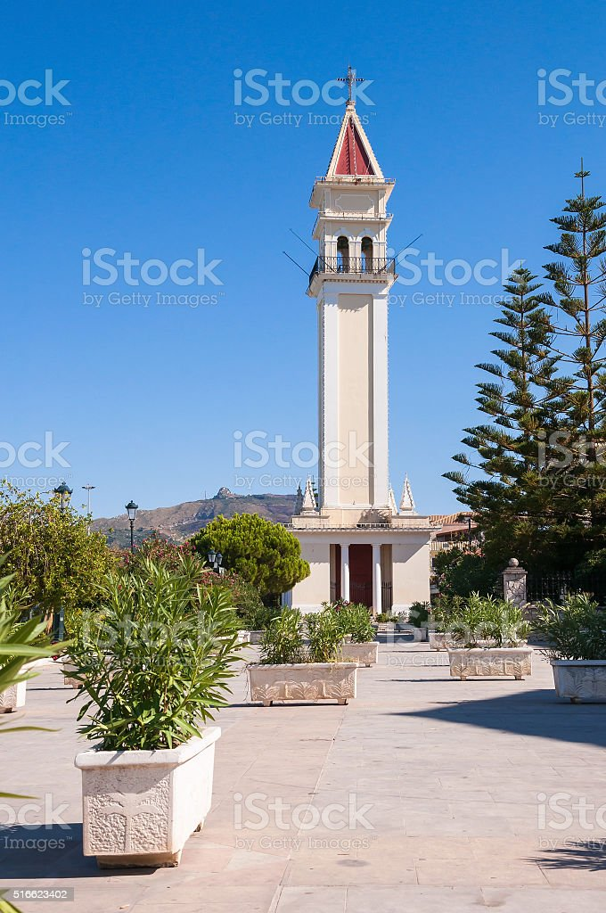 Tower of Saint Dionysios Church in Zakynthos stock photo