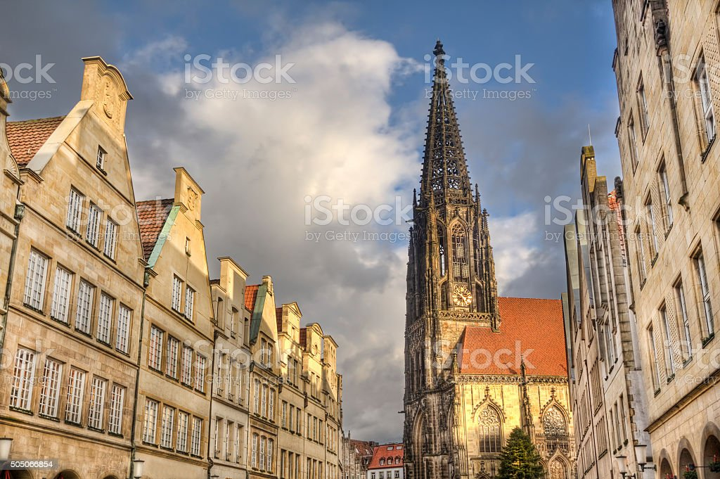 Tower of Saint Lamberti Church in Munster, Germany stock photo