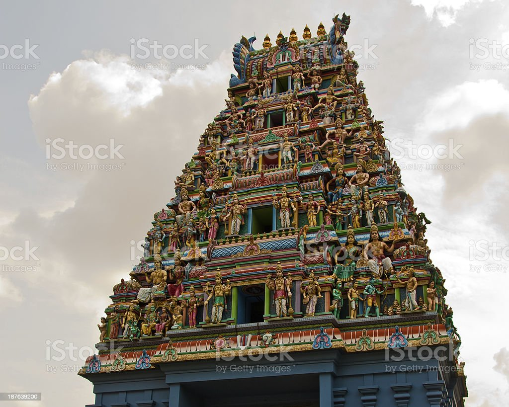 Tower (Gopuram) of Sri Srinivasa Perumal Hindu Temple royalty-free stock photo