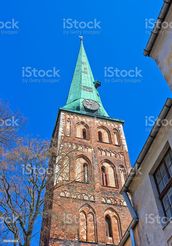 Tower of St. James's Cathedral in Riga, Latvia stock photo