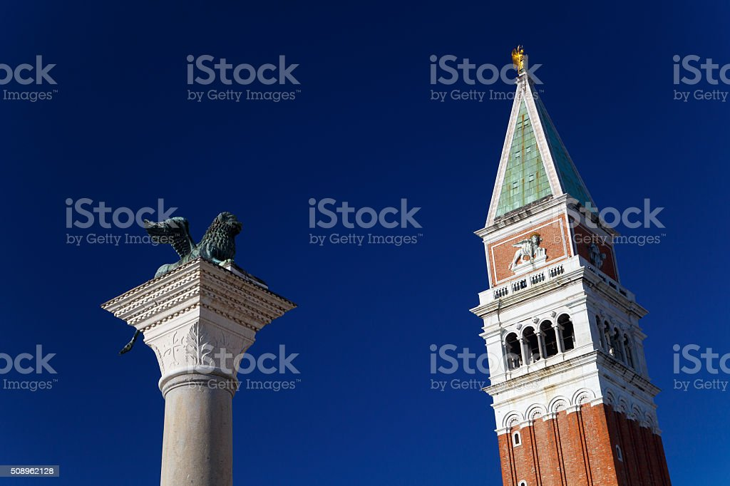 Tower of St. Marks Campanile and Lion of Venice stock photo