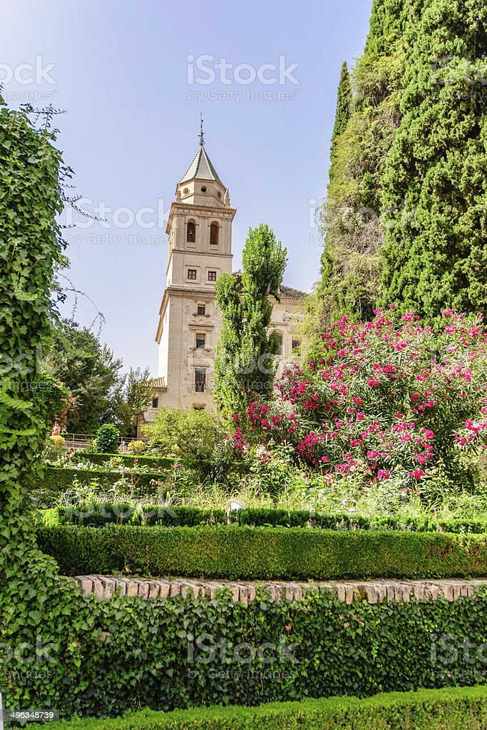 Tower of St. Mary Church, Alhambra of Granada/ Spain. 17th century stock photo