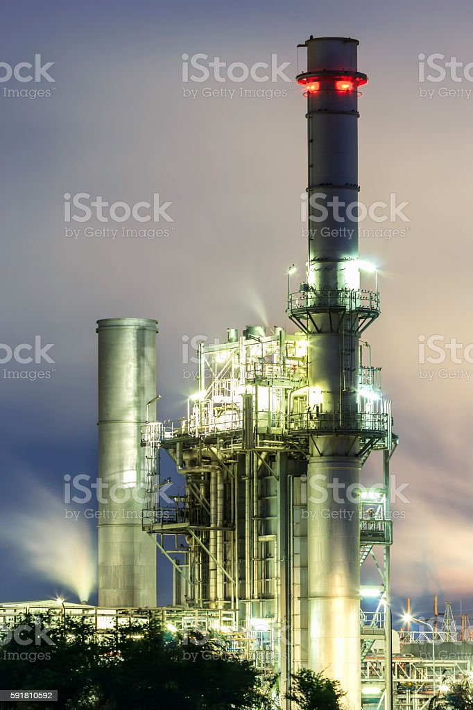 Tower of steam power plant. stock photo