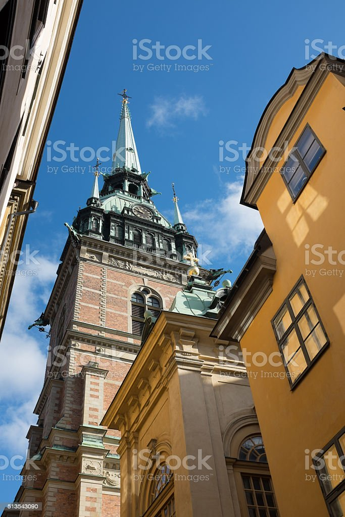 Tower of Storkyrkan (Stockholm Cathedral) stock photo