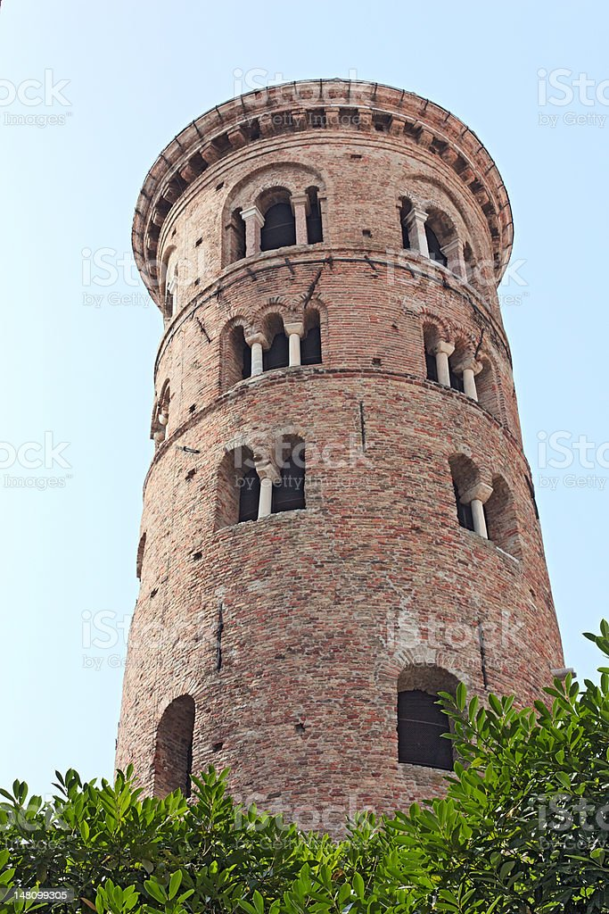 Tower of the Baptistry Neon in Ravenna stock photo