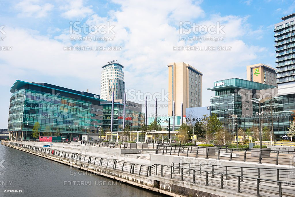 tower of the BBC HQ in Manchester stock photo