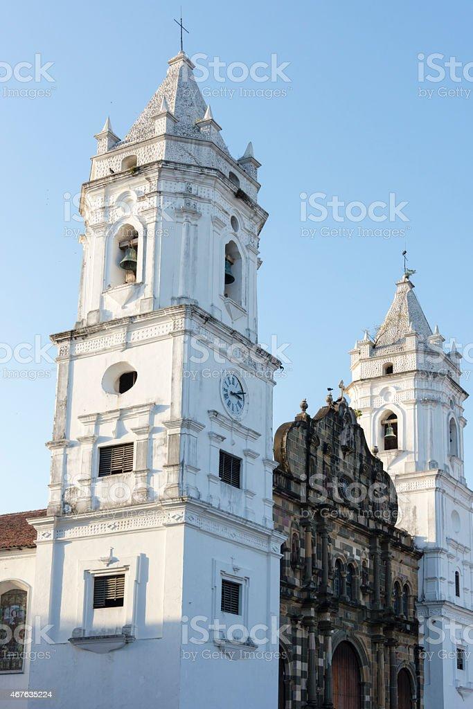 XXXL: Tower of the Cathedral in Casco Viejo, Panama stock photo