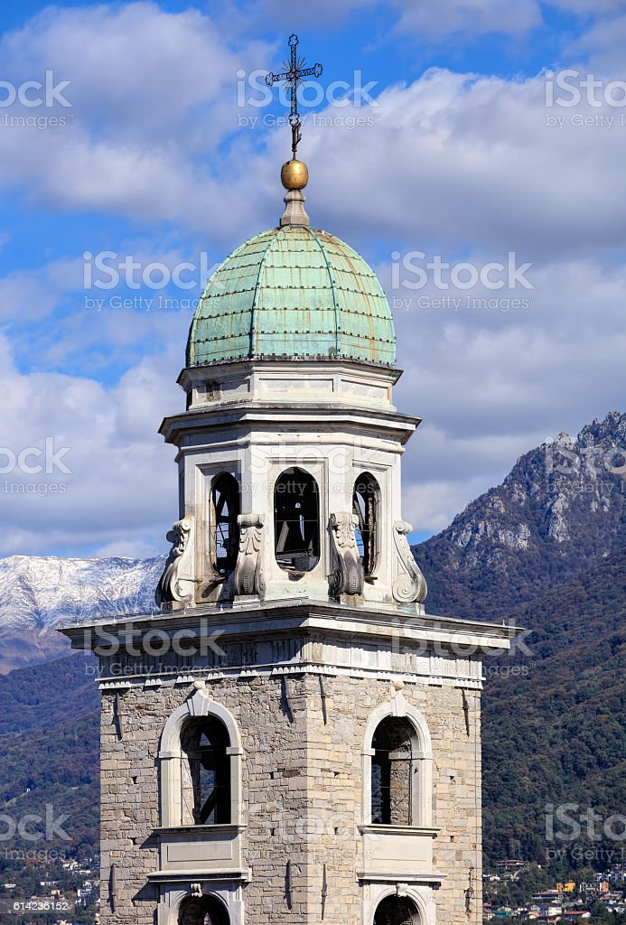Tower of the Cathedral of Saint Lawrence in Lugano, Switzerland stock photo