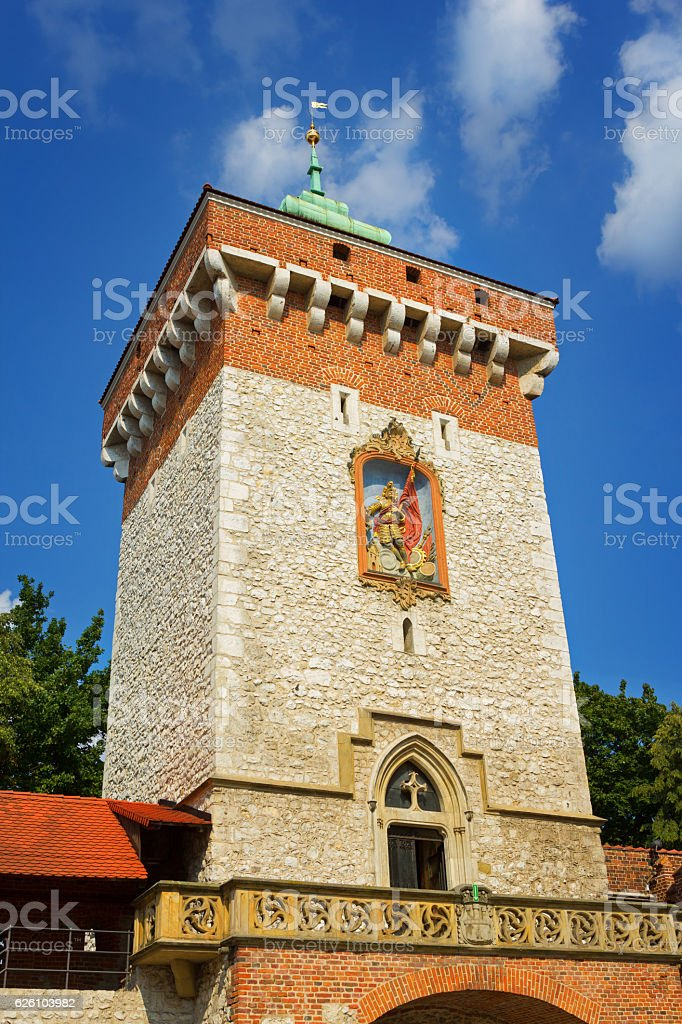 Tower of the city gates stock photo