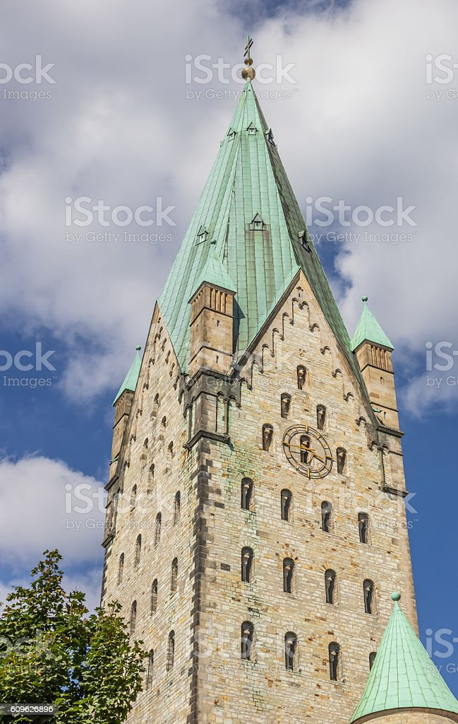 Tower of the Dom church of Paderborn stock photo