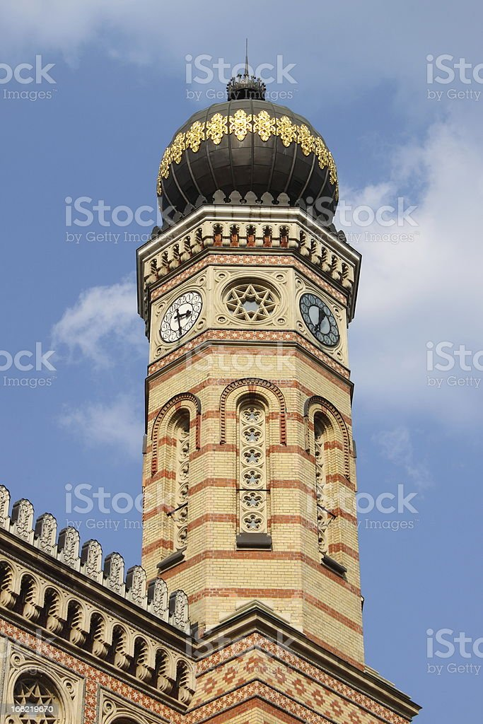 Tower of the Great Synagogue in Budapest royalty-free stock photo