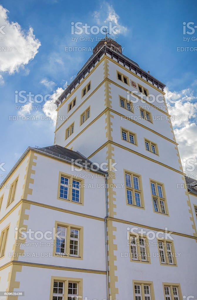 Tower of the Gymnasium Theodorianum building in Paderborn stock photo